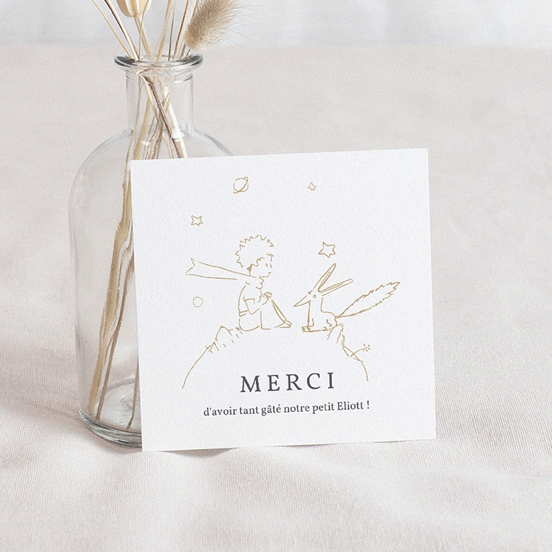 Carte Remerciement Naissance Le Petit Prince Le secret du renard, doré, Merci