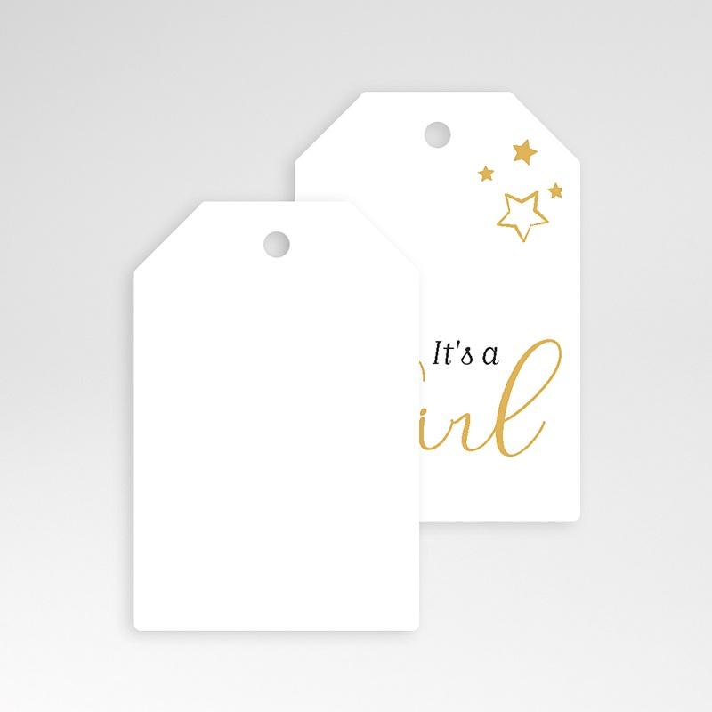 Etiquette Cadeau Naissance Girl, étoiles & Or pas cher