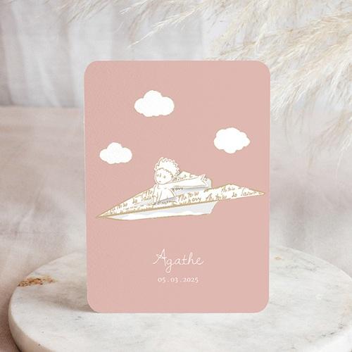 Faire-Part Naissance Le Petit Prince Petite Princesse en avion, rose
