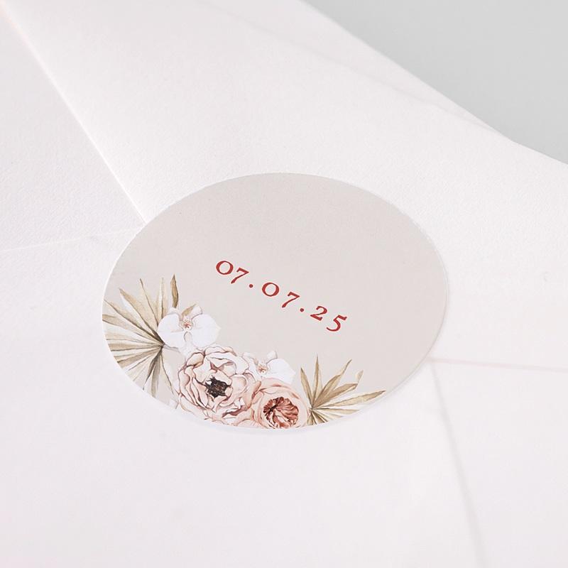 Etiquette Autocollante Mariage Fleurs Séchées, Sticker Rond pas cher