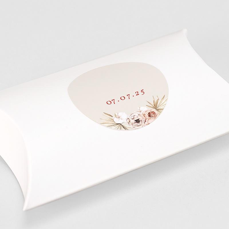 Etiquette Autocollante Mariage Fleurs Séchées, Sticker Rond gratuit