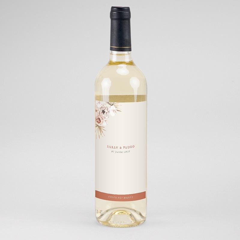 Etiquette Bouteille Mariage Fleurs séchées, Vin & Champagne