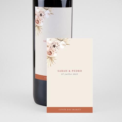 Etiquette Bouteille Mariage Fleurs séchées, Vin & Champagne pas cher