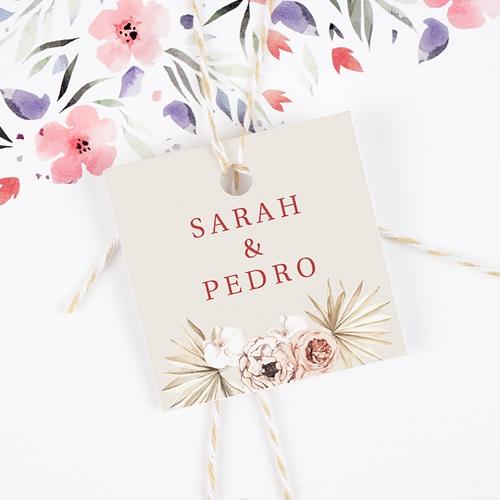 Etiquette Cadeau Mariage Fleurs Séchées, Carré, 4,5 cm gratuit