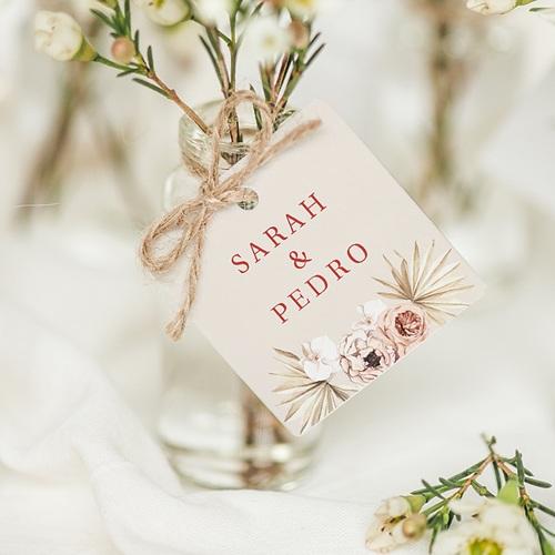Etiquette Cadeau Mariage Fleurs Séchées, Carré, 4,5 cm