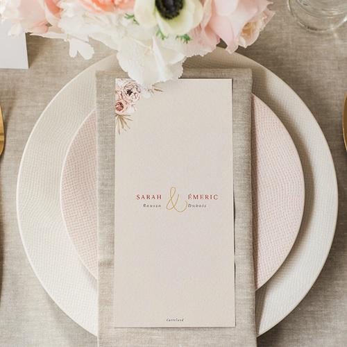 Menu Mariage Fleurs séchées, Bohème gratuit