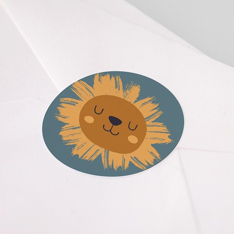Etiquette Autocollante Naissance Petit Lion, sticker pas cher