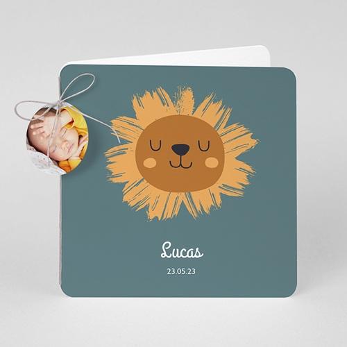 Faire-Part Naissance Animaux Petit Lion, étiquette ronde