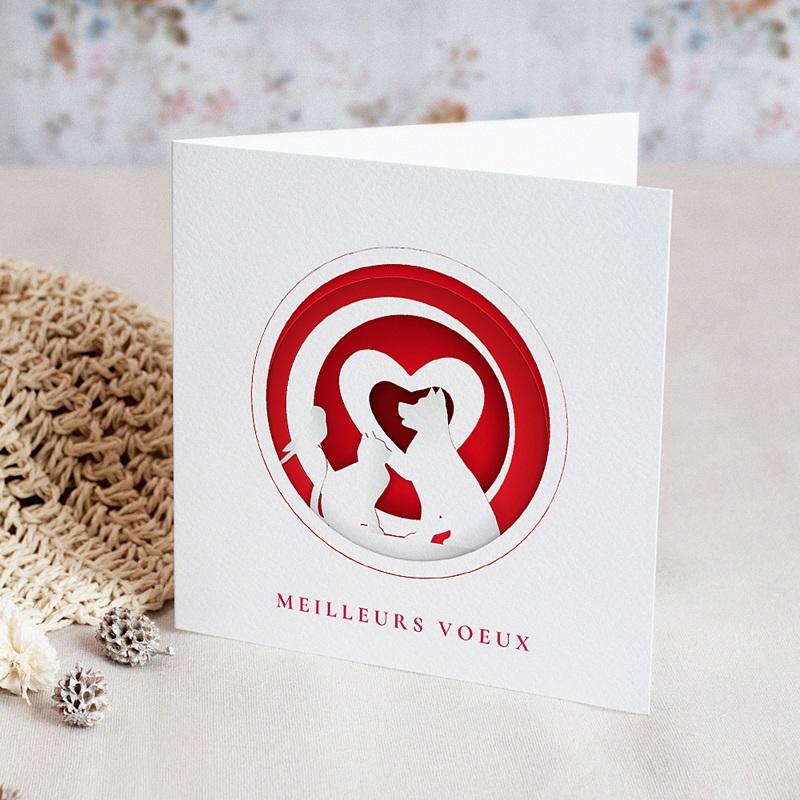 Carte de Voeux Entreprise Animaux blancs, Coeurs Rouges vernis
