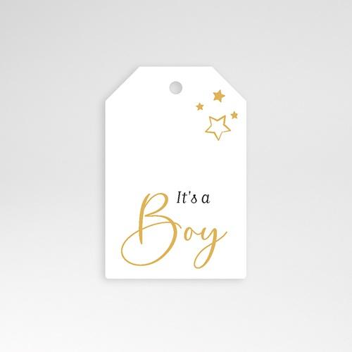 Etiquette Cadeau Naissance Boy, étoiles & Or