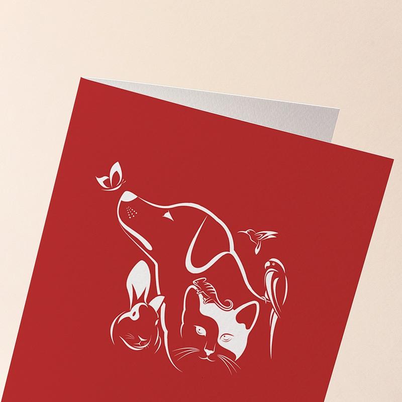 Carte de Voeux Entreprise Animaux NAC, Animalerie, Fond rouge gratuit