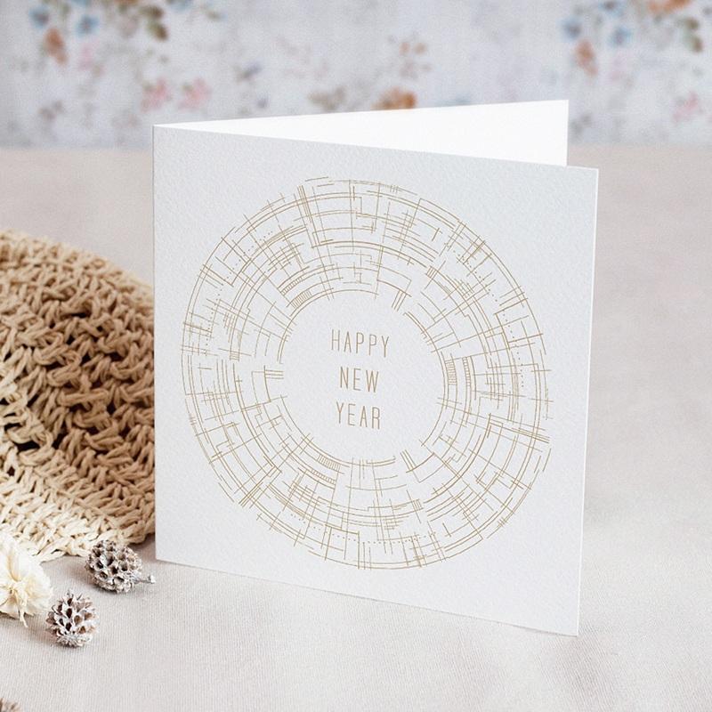 Carte de Voeux Entreprise Cercle vertueux, Doré, Labyrinthe