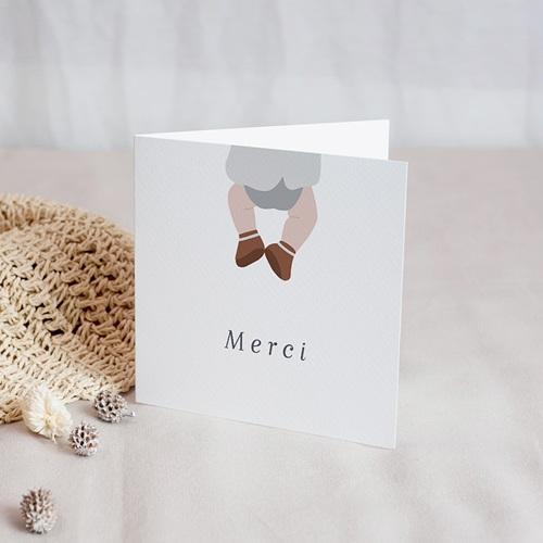 Carte Remerciement Naissance Garçon Ours porte-bonheur, Merci, 2 volets