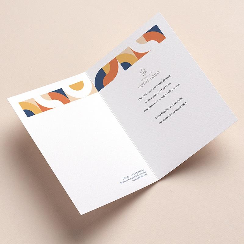 Carte de Voeux Entreprise Corporate, Rétro Bauhaus, Dorure pas cher
