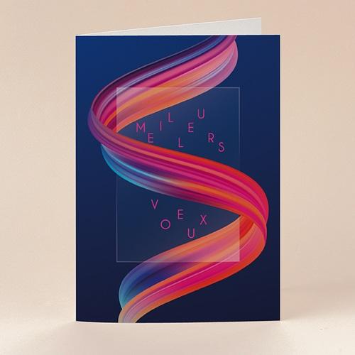 Carte de Voeux Entreprise Ruban multicolore, vernis 3D