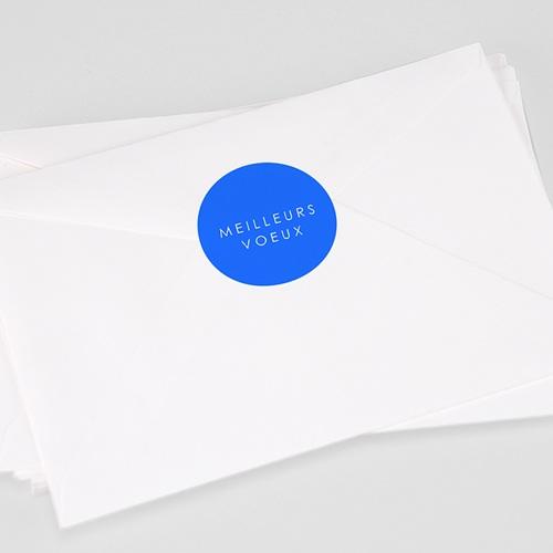 Etiquette Noël Meilleurs Voeux, Bleu, 4,5 cm