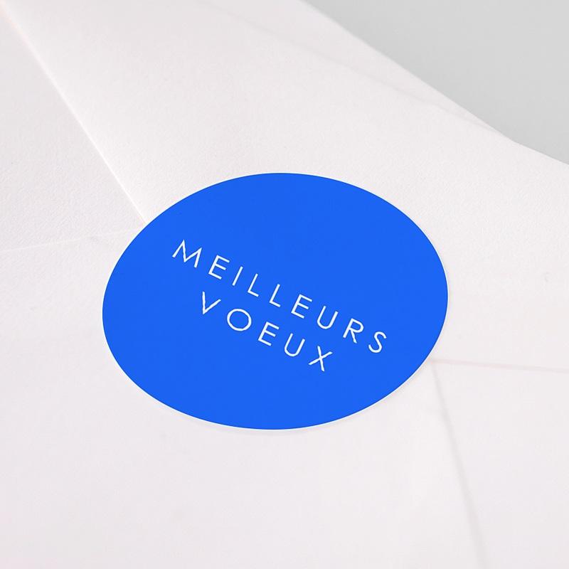 Etiquette Noël Meilleurs Voeux, Bleu, 4,5 cm pas cher