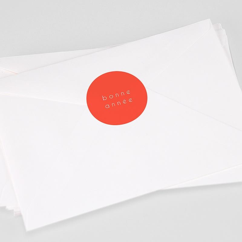 Etiquette Noël Bonne Année, Orange, 4, 5 cm