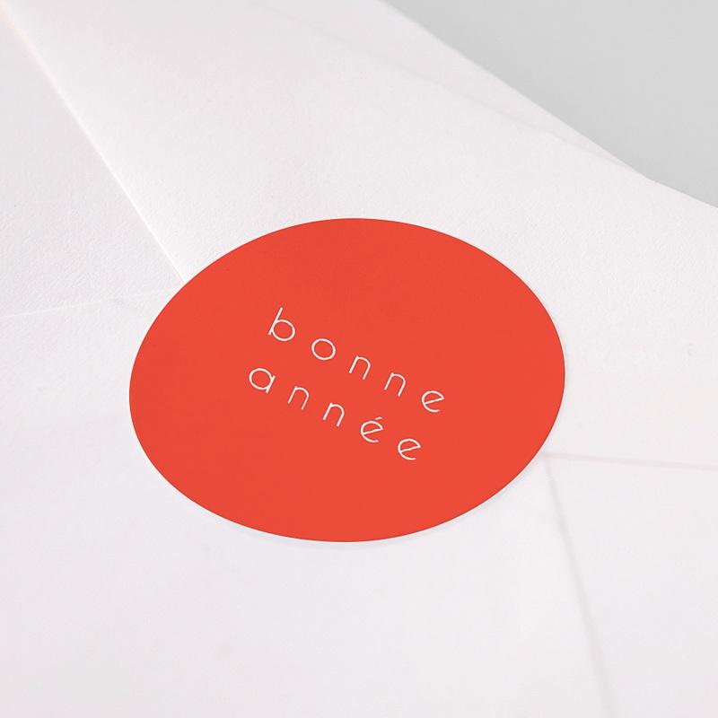 Etiquette Noël Bonne Année, Orange, 4, 5 cm pas cher