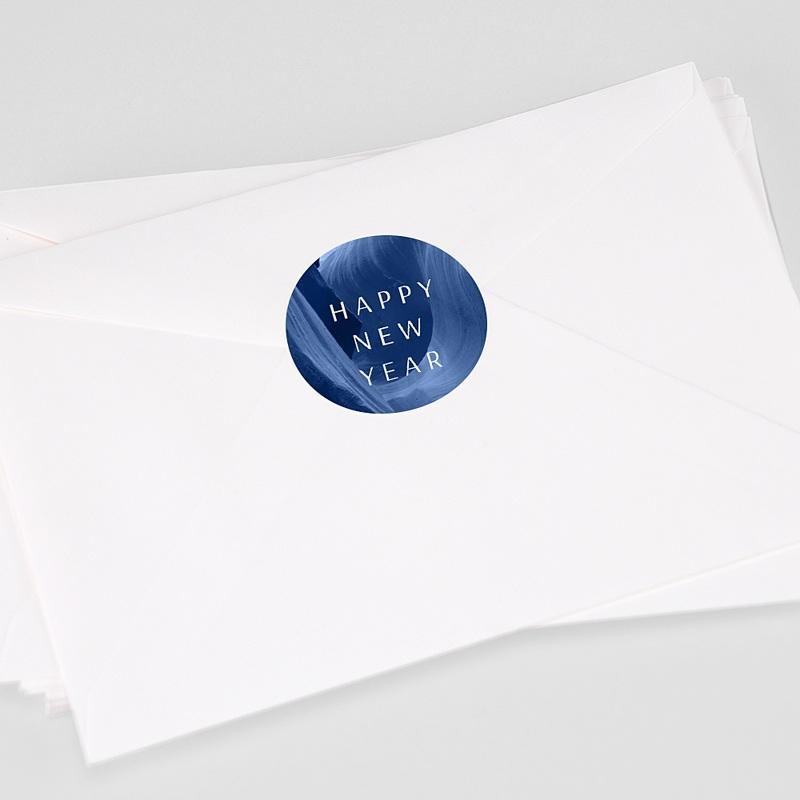 Etiquette Noël Canyon Bleu graphique, 4,5 cm