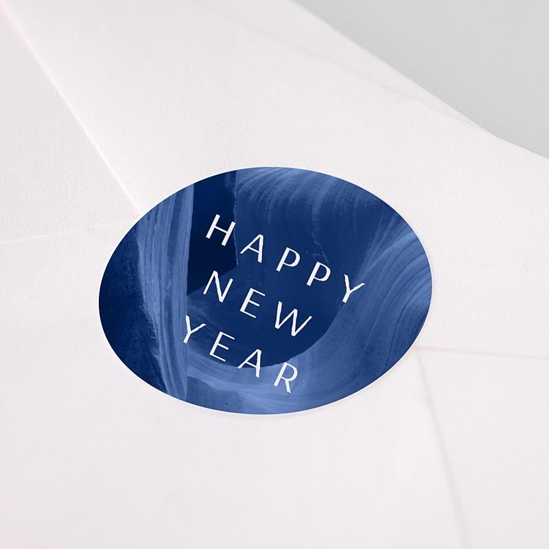 Etiquette Noël Canyon Bleu graphique, 4,5 cm pas cher