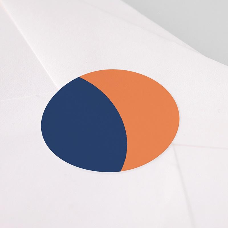 Etiquette Noël Bauhaus, Bleu, Orange, 4,5 cm pas cher