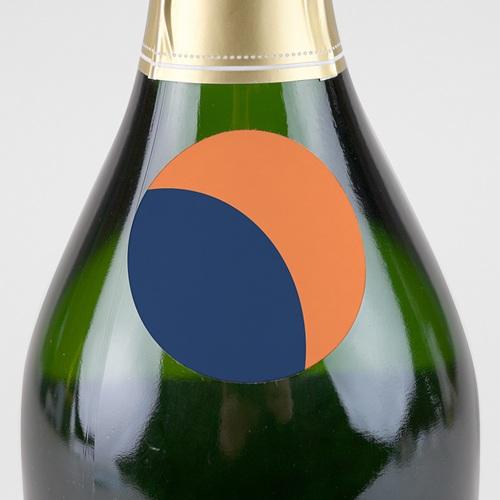 Etiquette Noël Bauhaus, Bleu, Orange, 4,5 cm