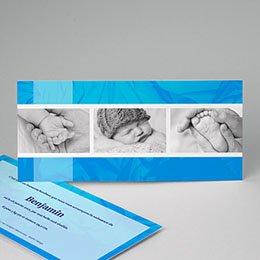 Faire-Part Naissance Garçon -  Bleu céruléen 8991