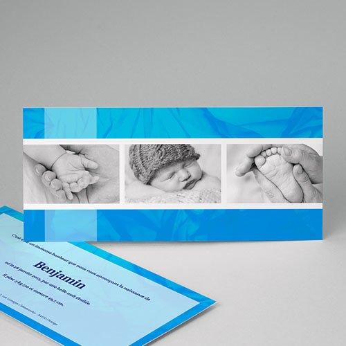 Faire-Part Naissance Garçon -  Bleu céruléen 8991 thumb