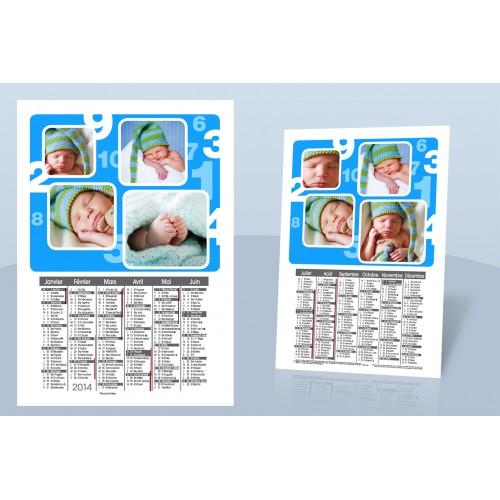 Calendrier Monopage - De 1 à 10 en bleu 8998