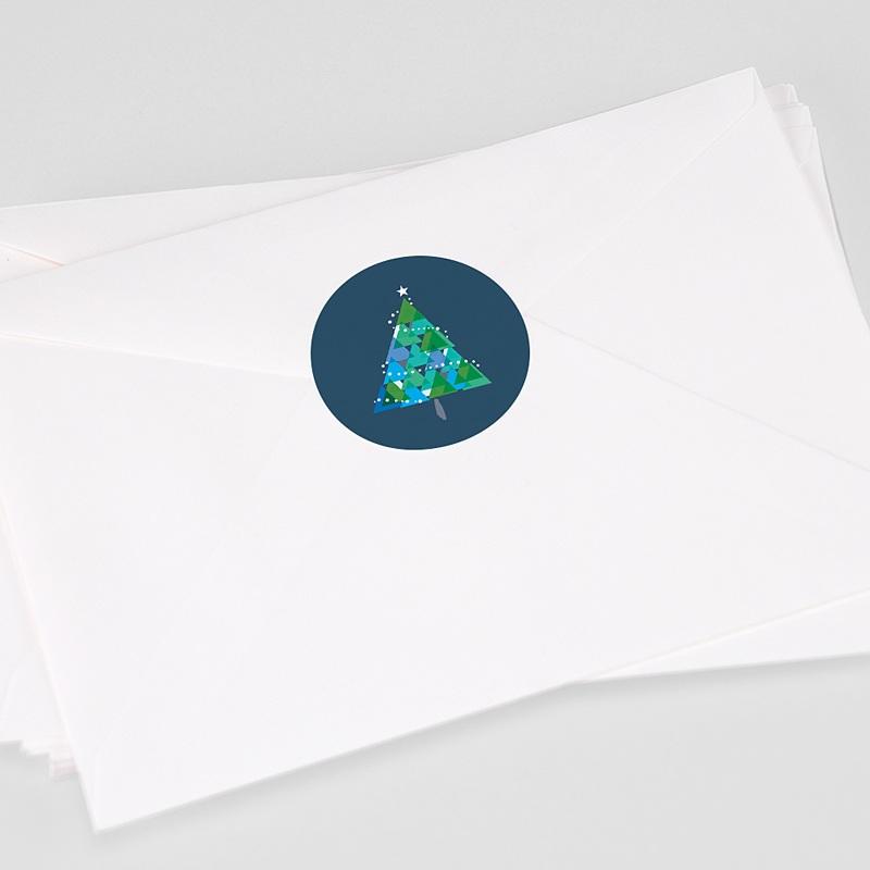 Etiquette Noël Noël, Sapin géométrique