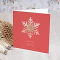 Carte de Voeux Entreprise Noël Corail, Flocons, Dorure