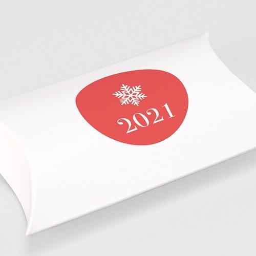 Etiquette Noël Flocon Blanc, Fond Corail gratuit