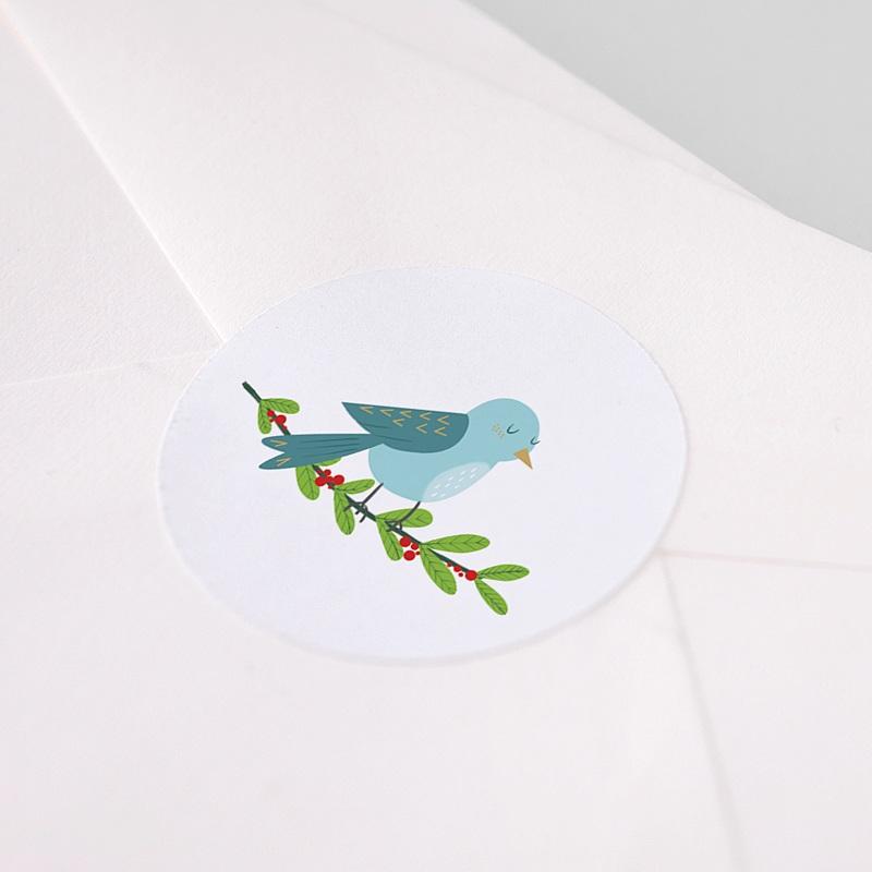 Etiquette Noël Oiseau de Noel, Houx pas cher