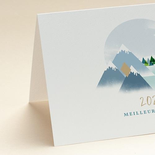 Carte de Voeux Entreprise Au sommet, Montagnes, Dorure, Ouverture Portefeuille