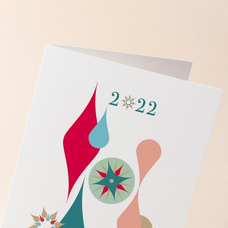 Carte de Voeux Entreprise Boules de Noël, Gouttes Colorées, Dorure gratuit