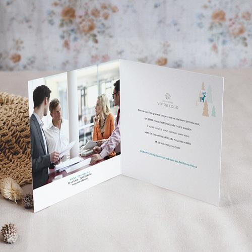 Carte de Voeux Entreprise Sapins Colorés, Rennes Bleus, dorure pas cher