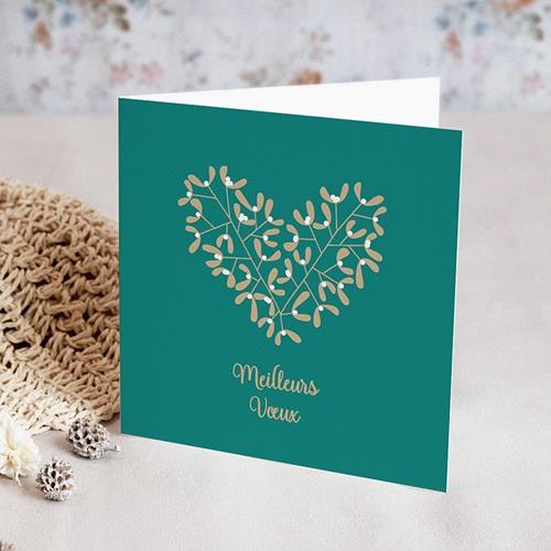 Carte de Voeux Entreprise Coeur de houx, Dorure de Noël