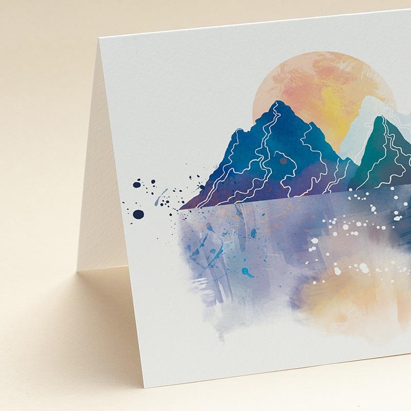 Carte de Voeux Entreprise Paysage japonisant, Reflets Aquarelle, Ouverture portefeuille