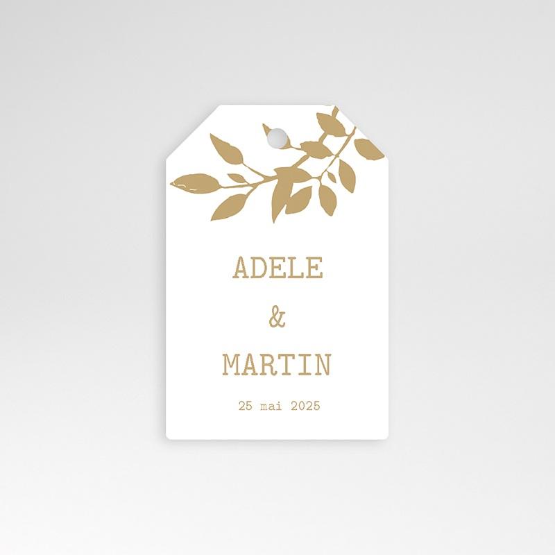 Etiquette Cadeau Mariage Nature White Kraft, 6 x 4