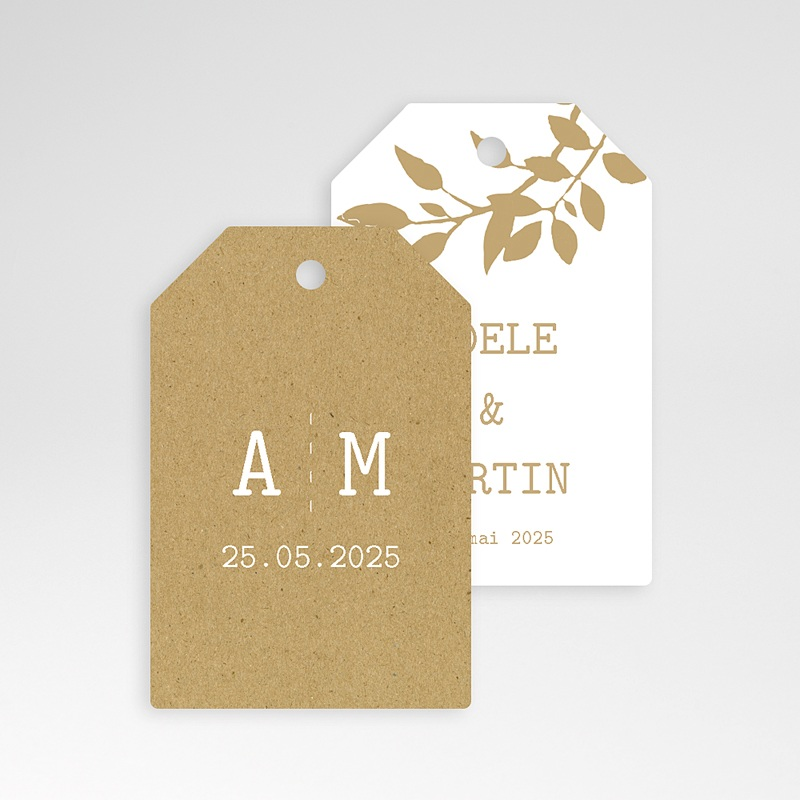 Etiquette Cadeau Mariage Nature White Kraft, 6 x 4 pas cher