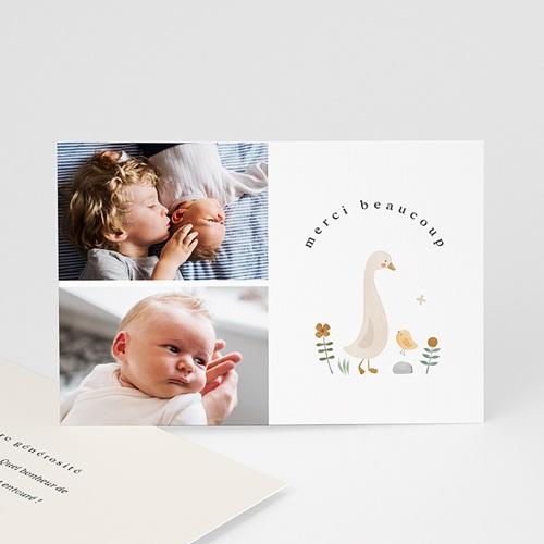 Carte Remerciement Naissance Frère et Soeur Bébé Oie, Deux photos
