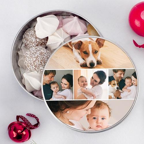 Boîte Personnalisée Photo Photo collage Noel, 5 Photos,  Diam. 15 cm pas cher
