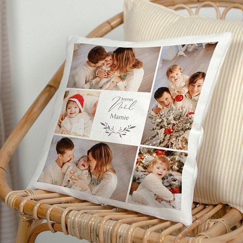 Coussin Personnalisé Photo Photo Collage Noël, 5 Photos, 40 x 40 cm
