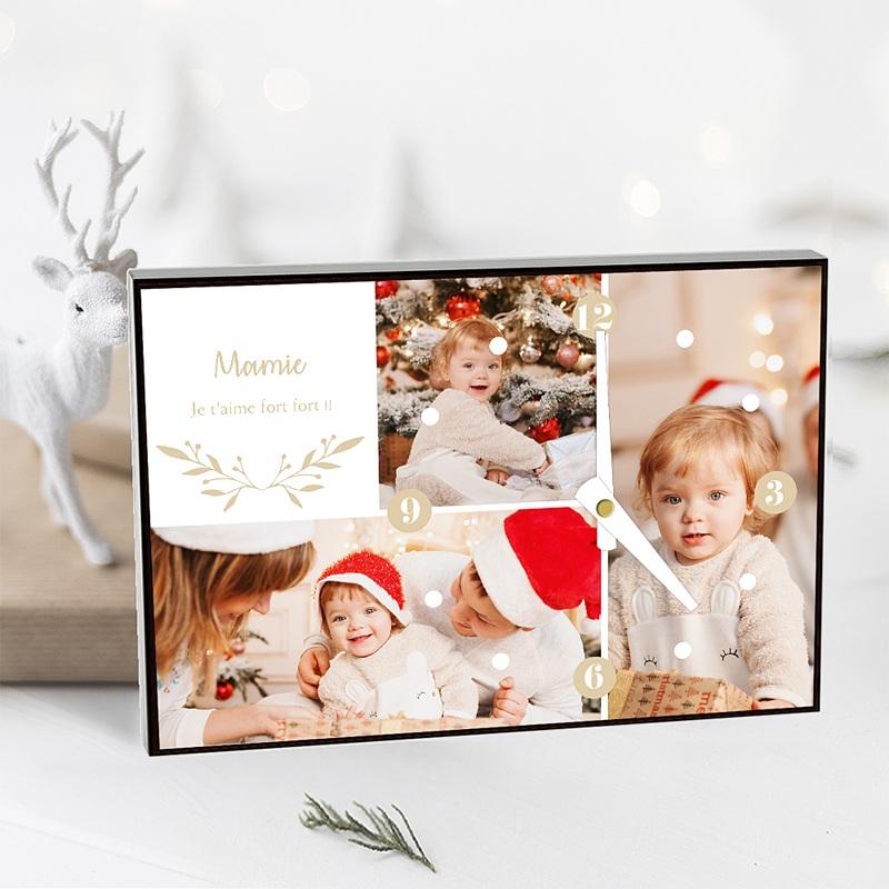 Horloge Personnalisée Photo Photo Collage Noël, 3 photos, 20 x 14 x 2 cm pas cher