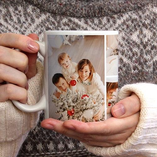Mug Personnalisé Noël Photo Collage Noël, 4 Photos, Ø 8 x H. 9,5 cm gratuit