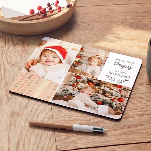 Tapis de Souris Personnalisé Photo Photo Collage Noël, 3 Photos, 19,6 x 23 x 0,5 cm