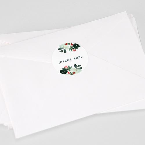 Etiquette Noël Couronne de Noël rustique, sticker