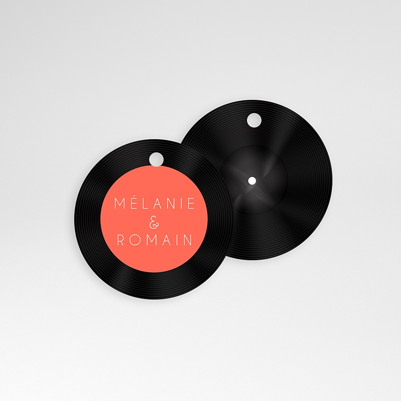 Etiquette Cadeau Mariage Disque Vinyl, Ø 4,5 cm, pré-perforé pas cher