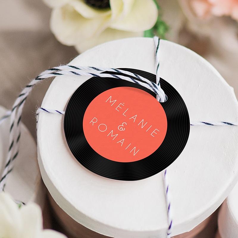 Etiquette Cadeau Mariage Disque Vinyl, Ø 4,5 cm, pré-perforé gratuit
